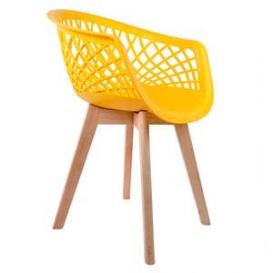 Cadeira Web Amarela com Braço Base Wood Empório Tiffany