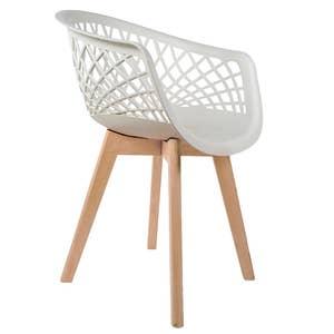 Cadeira Web Branca com Braço Base Wood Empório Tiffany