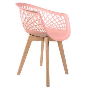 Cadeira Web Rosa com Braço Base Wood Empório Tiffany